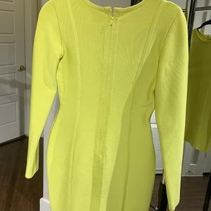 House of CB Dresses - CARLY' LIME GREEN LONG SLEEVE BANDAGE DRESS